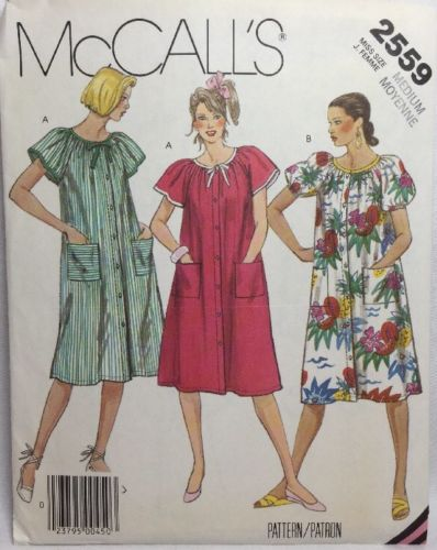 McCalls Pattern 2559 MISSES FRONT BUTTONED OR SNAP DRESS OR ROBE Sz 14 16 Uncut