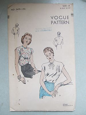 VINTAGE 1940s VOGUE PATTERN 5419 BLOUSE SZ 14 NOVELTY PRINT BOW COLLAR