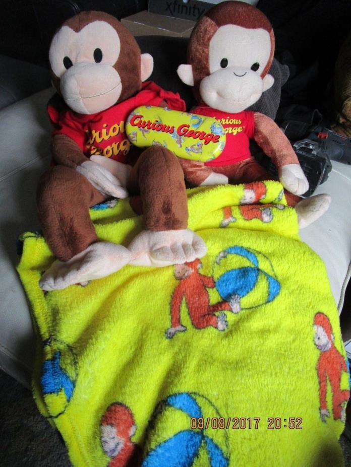 2 CURIOUS GEORGE  Plush MONKEY Doll towel sunglass case lot look toys look!