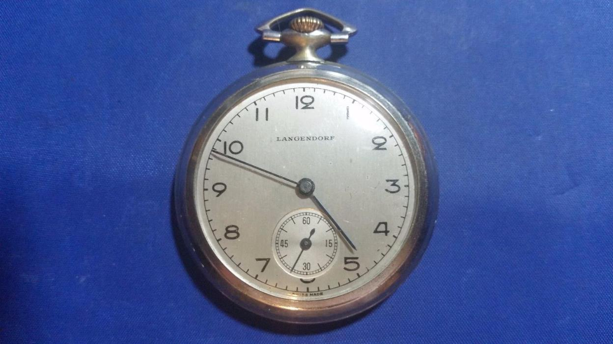 Langendorf Open Face Swiss Pocket Watch for parts