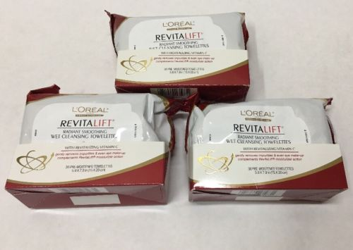 Lot of 3 Loreal Revitalift Radiant Cleansing Towelettes Makeup Face Wipe Cloths