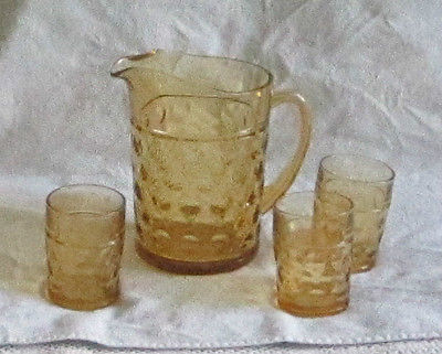 VINTAGE AMBER PRESSED GLASS LEMONADE PITCHER AND CUPS UNMARKED 1960'S