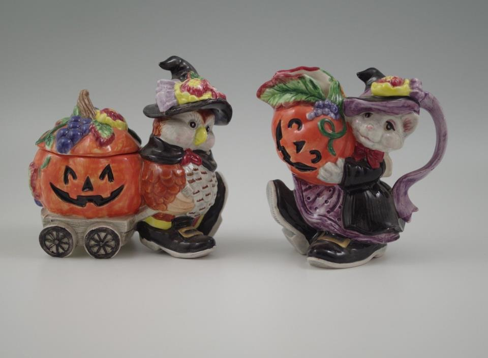 1995 FITZ AND FLOYD HALLOWEEN HARVEST OWL SUGAR BOWL AND CAT CERAMER SET