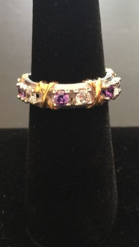 sterling silver eternity ring size 6 with amethyst and diamond look stones