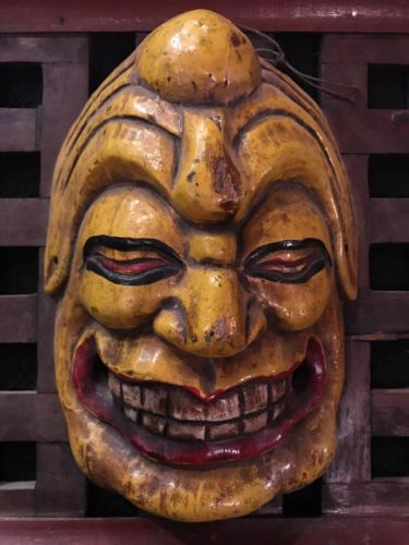 Antique Japanese Kabuki Theater Evil Devil Folk Art Mask Circa 1900's