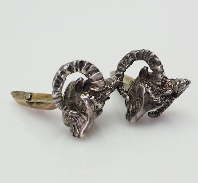 Wonderful vintage mountain sheep animal sterling silver cufflinks Mexico