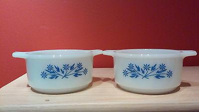 Vintage DYNAWARE Lot of 2 Milk Glass Blue Cornflowers Casserole Custard Dishes
