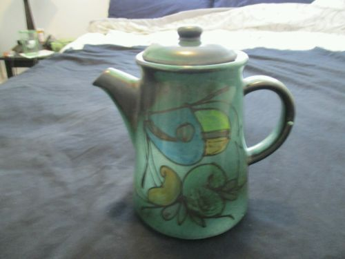Vintage Hand Painted Teapot, Matte Fish Decor, Ink Stamp Signed