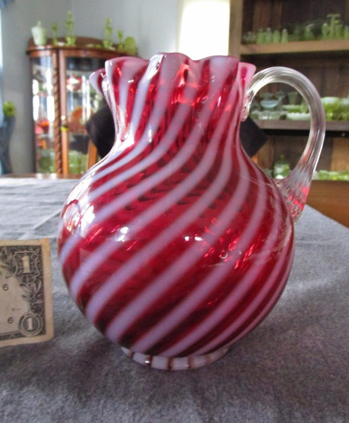 FENTON/L.G WRIGHT CRANBERRY OPALESCENT SPIRAL OPTIC 6