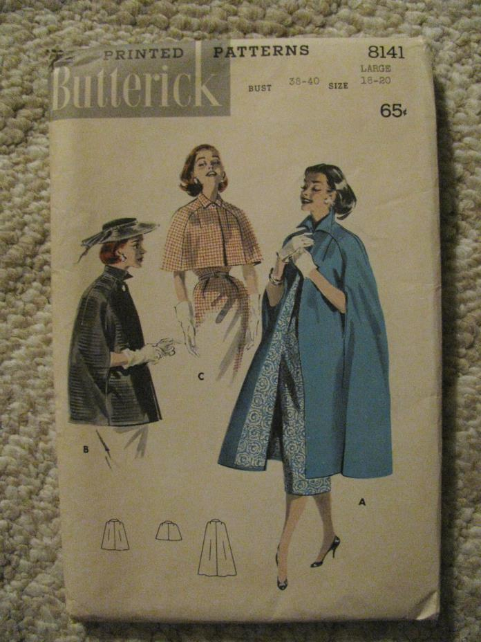1957 Women's Paris Inspired Cape Sewing Pattern Butterick 8141 size 18-20-uncut