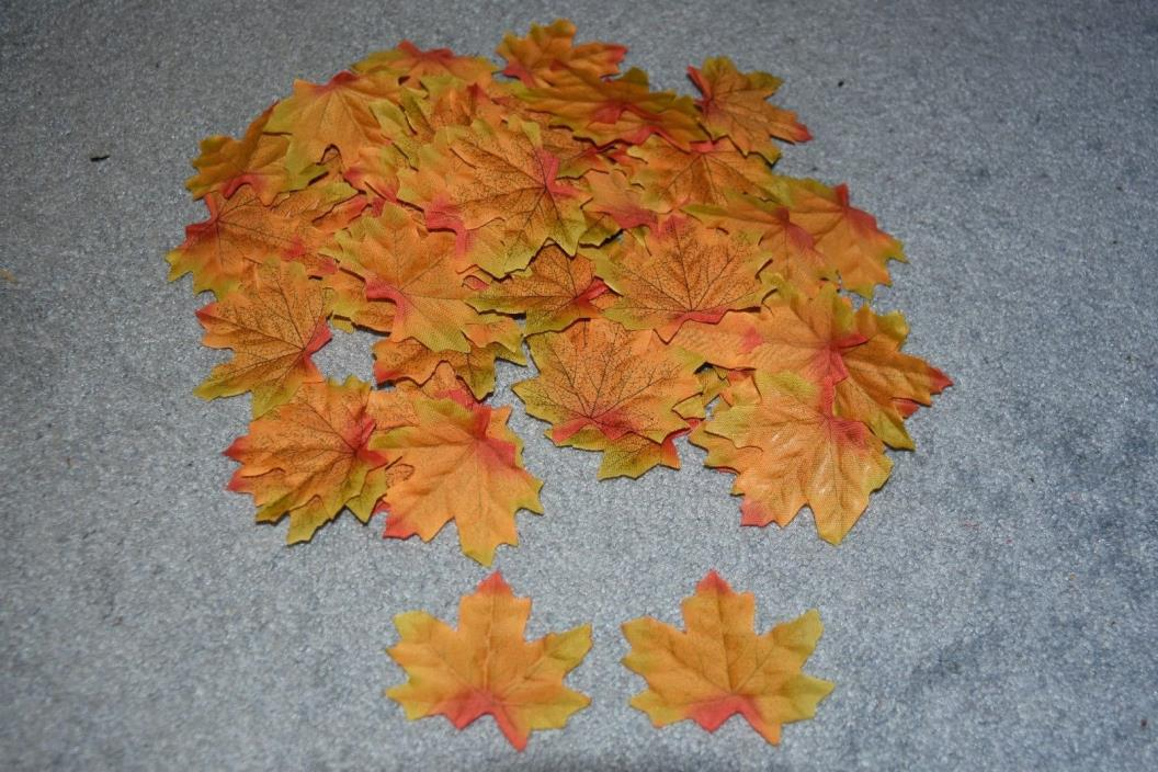 Artificial Fall Maple Leaves for Fall Weddings & Autumn Décor Green Orange & Red