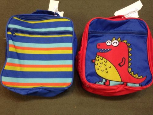 Lot Of 2 NEW Insulated Lunch Box Bags Monster & Stripes 2 School Cooler Kids