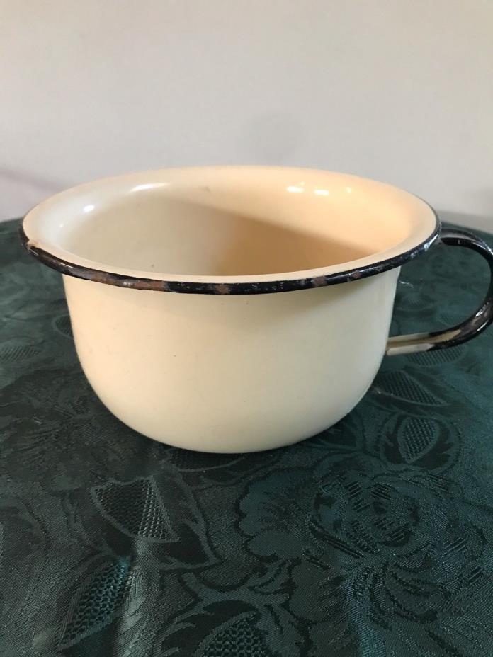 Vintage Heavy Yellow Enamel Ware Chamber Pot Potty Chair Enamelware