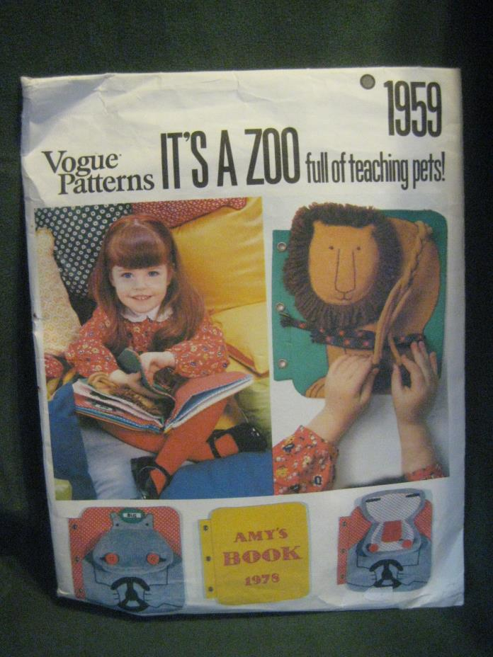 vtg toy PATTERN It's a Zoo teaching activity cloth BOOK Toddlers Gift #1959