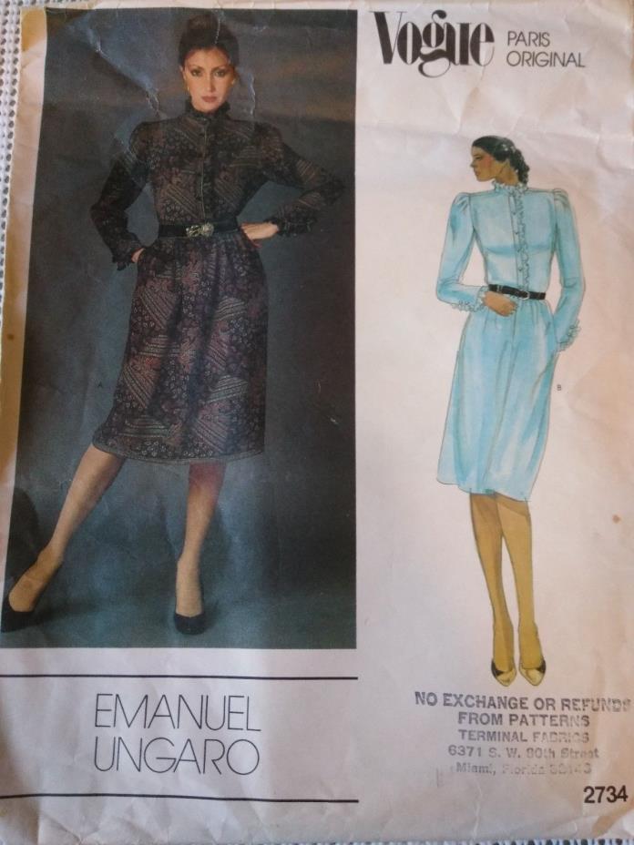 Vtg VOGUE Paris Original Emanuel Ungaro  2734 sz 8 sewing pattern cut