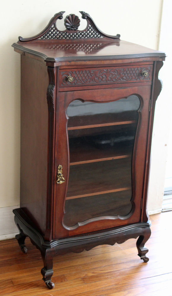 Antique Mahogany Record Sheet Music Cabinet w/Key - Antique Sheet Music Cabinet - For Sale Classifieds