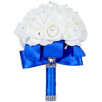 Wedding Crystal Bridal Bouquet Roses Flowers Rhinestone White Artificial Blue