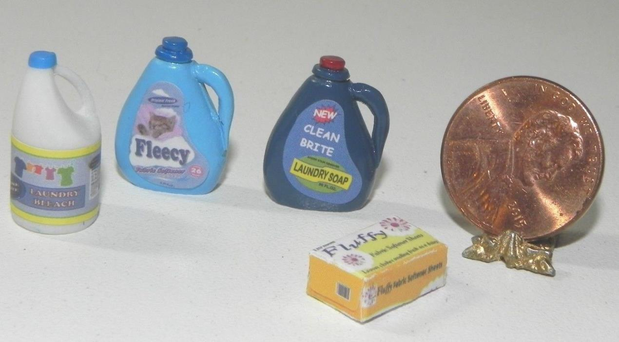 Dollhouse Miniature Detergent Bleach Fabric Softener Set Laundry Minis 1:12
