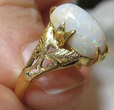 22K SOLID GOLD ANTIQUE CHINESE HUGE GENUINE OPAL VINTAGE ART DECO FLORAL RING