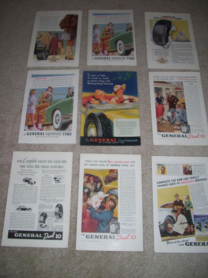 Lot of 9 General Tire Paper Print Ads 30's 40's Tire Car Mancave Continental