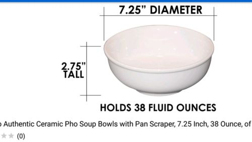 Cameo Authentic Ceramic Pho Soup Bowls with Pan Scraper, 7.25 Inch, 38 Ounce, of