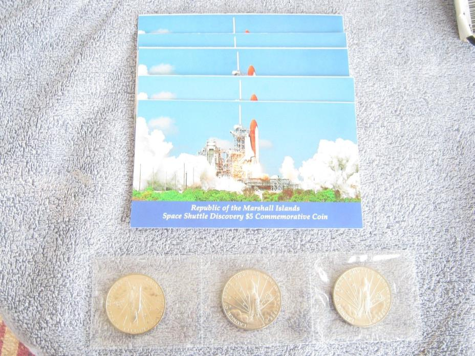 Lot of 3 MARSHALL ISLANDS 1988 $5 SPACE SHUTTLE DISCOVERY COMMEMORATIVE COIN UNC