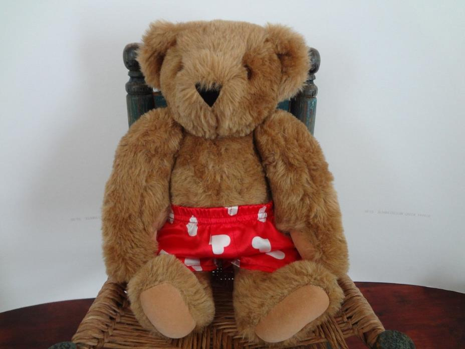 Vintage VERMONT TEDDY BEAR CO. brown bear red shorts with white hearts 16