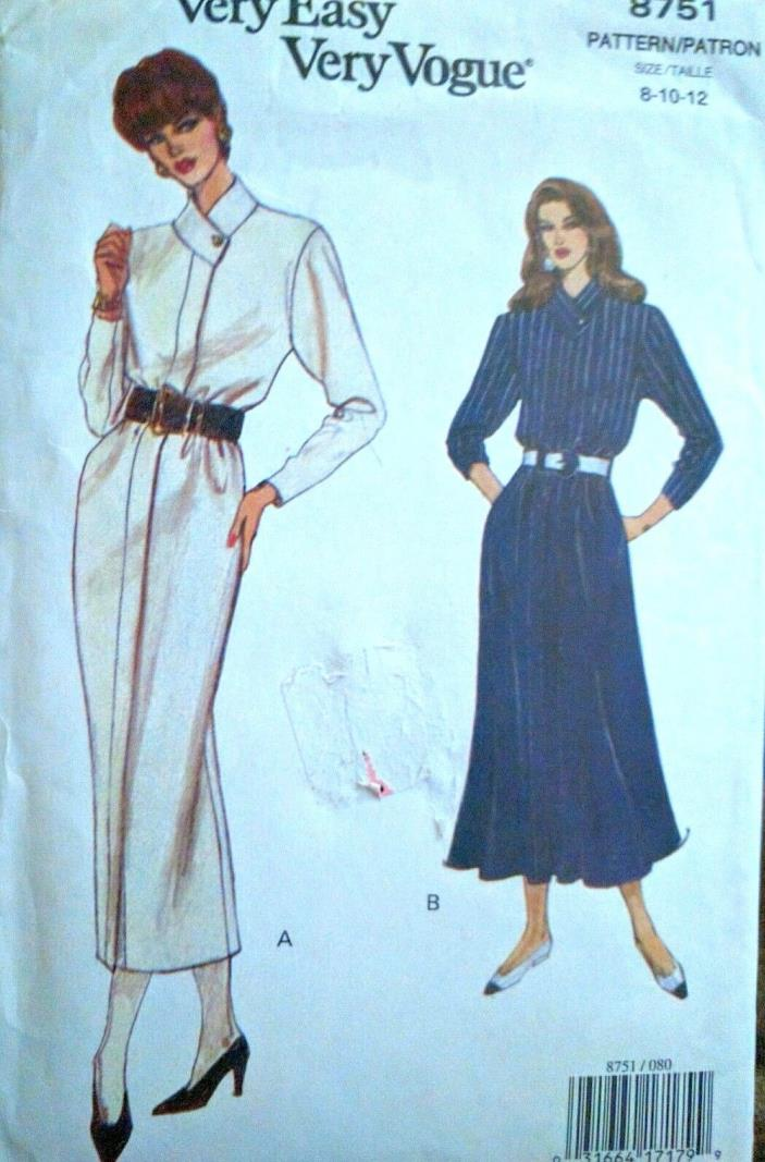 Vogue  Long Sleeve Dress Sewing  Pattern Sz 8- 12