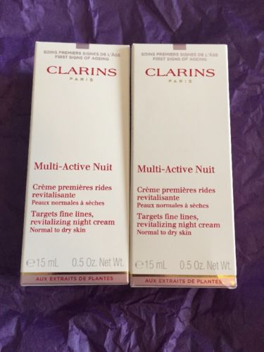 Nib: Clarins Multi-Active Nuit Revitalizing Night Cream Lot Of 2 (0.5 Oz Each)