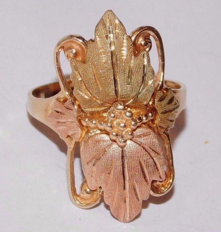 Black Hills Gold 10 kt 12 kt Four Leaves Long Ring Size 6 1/2