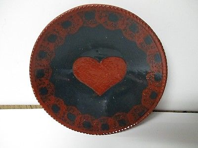 1988 NED FOLTZ REDWARE POTTERY PLATE - Heart with Cobalt Blue Decoration