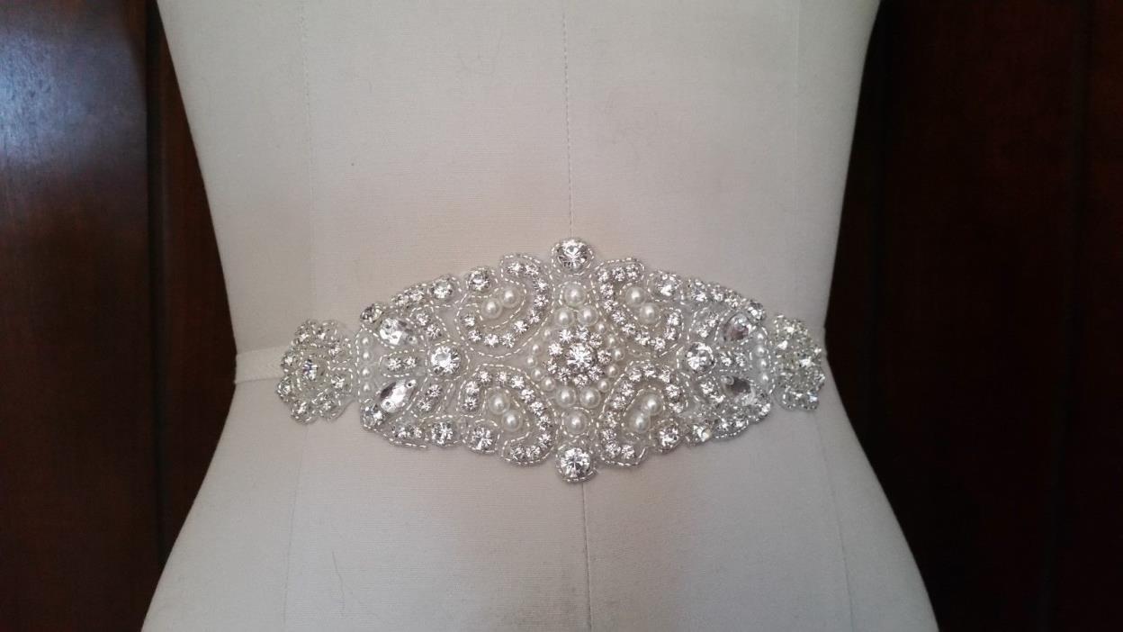 Wedding Bridal Sash Belt, Crystal Pearl Dress Sash Belt
