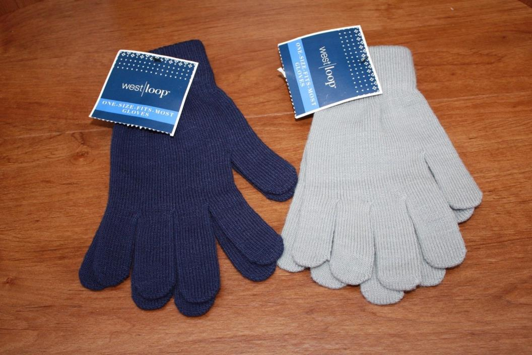 West Loop One Size Fits Most Gloves Stretch Unisex 2 Pair Pack