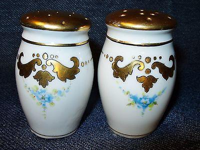 Antique Art Nouveau Porcelain Salt & Pepper Shakers w/ Hand Gilding 1900's EUC