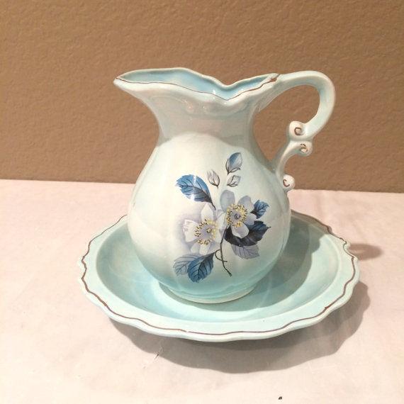 Beatuiful Vintage Miniature Light Blue Basin & Pitcher Gold trimmed
