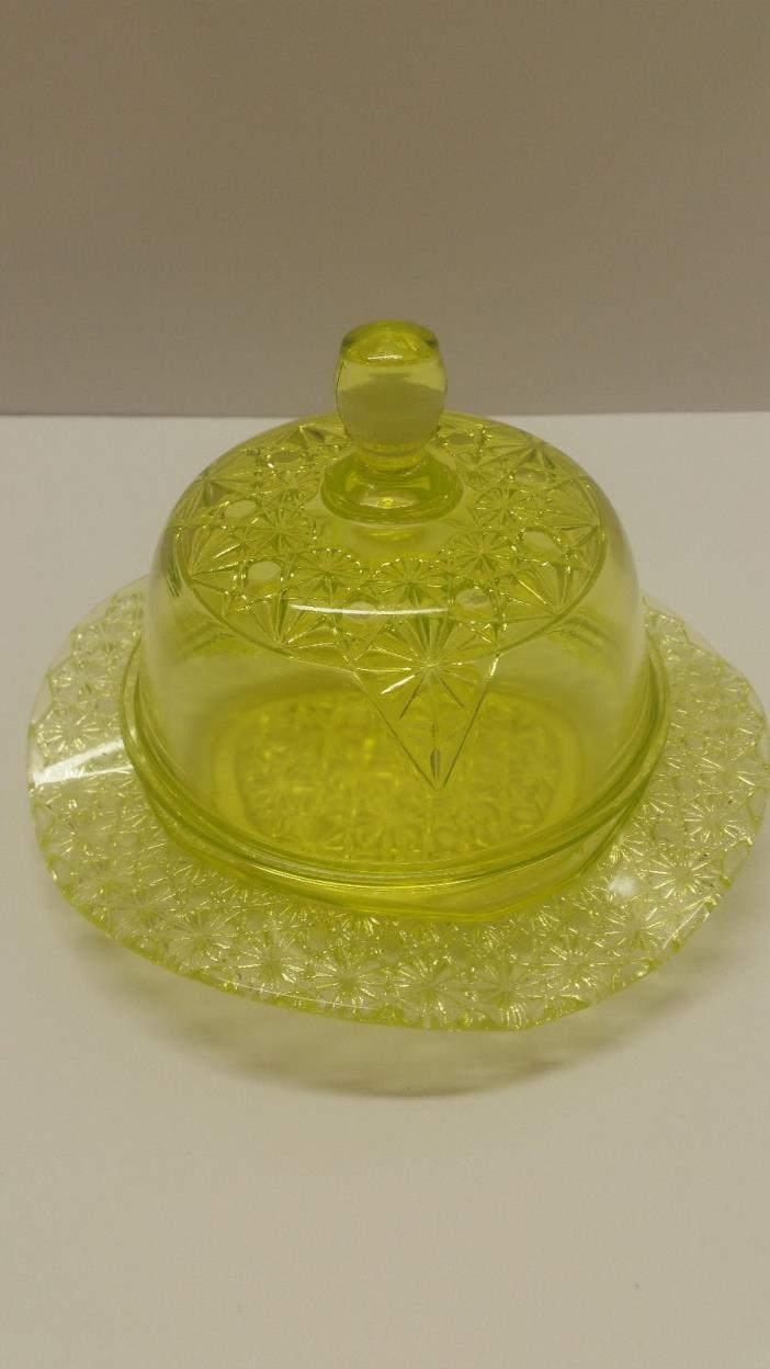 Vintage Butter/Cheese Dish Domed Mosser Glass USA Vaseline Glass Queen Pattern