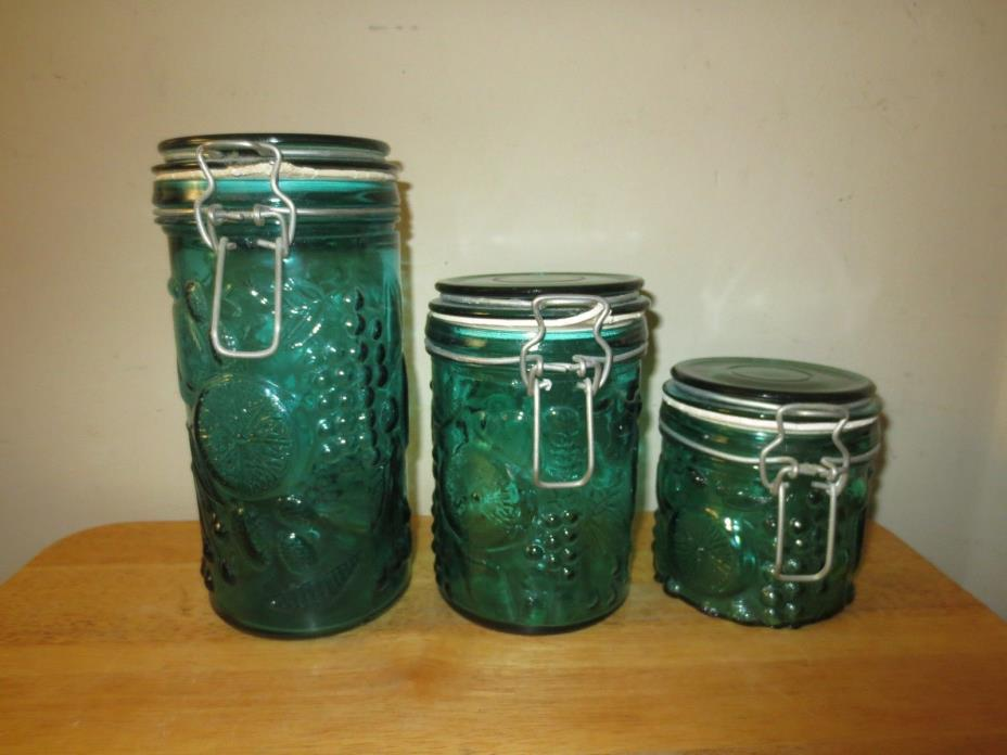 Vintage Lot Of 3 Glass Canning Mason Jars Canisters Wire Bail Glass Lids Decor