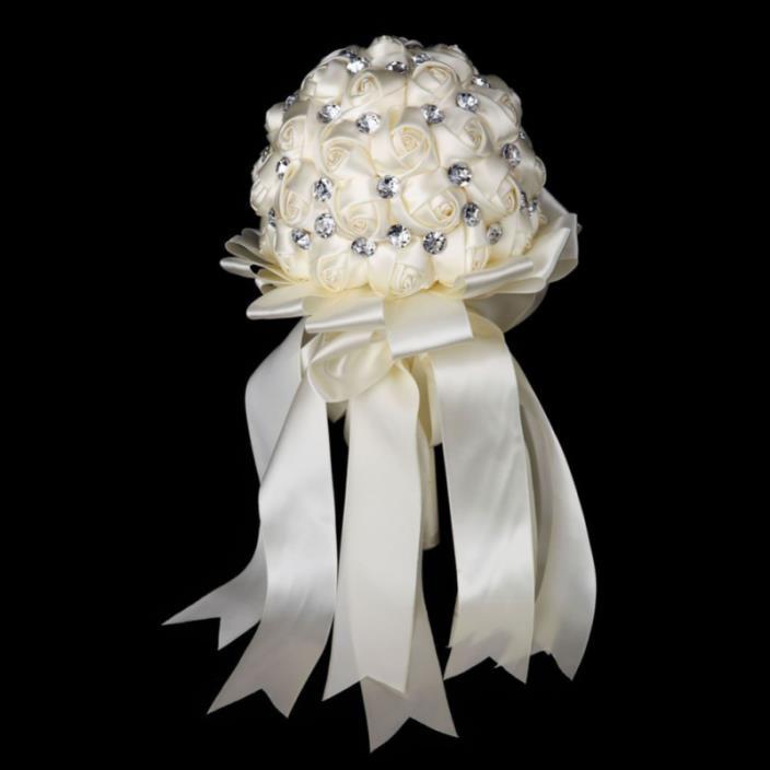 FAYBOX Crystal Satin Rose Bridal Bridesmaid Bouquets Wedding Flower Decor Ivory