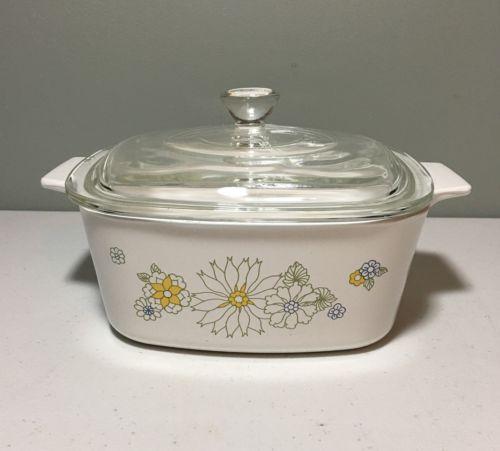 Corning Ware Floral Bouquet 1 1/2 Qt Casserole Baking Dish w/Lid