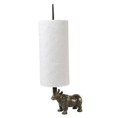 Rhino Toilet Paper / Paper Towel Holder - Cast Iron Countertop or Floor Standing