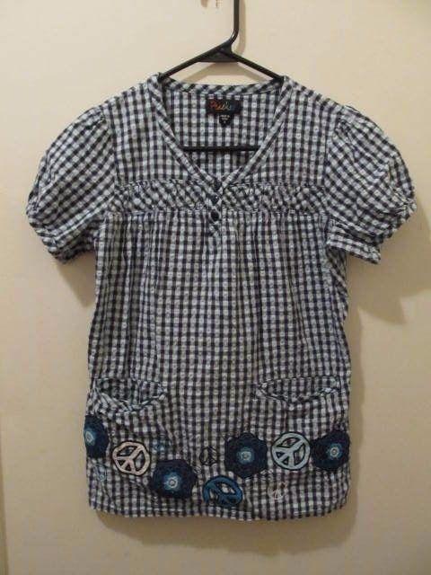 Peaches womens multi-color blue checkered short sleeve scrub top S