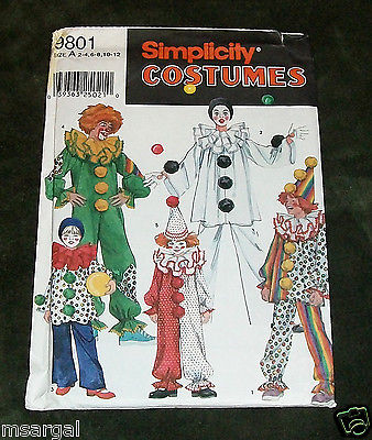 Simplicity SEWING Pattern #9801 SIZE: A (2-4, 6-8, 10-12) BOYS & GIRLS COSTUMES