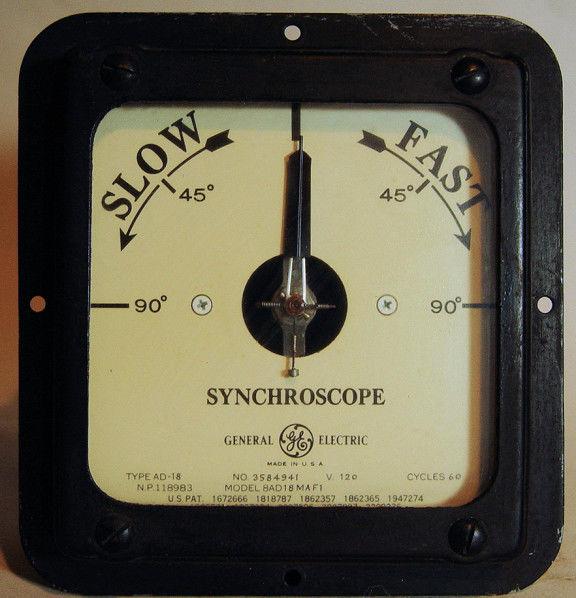 General Electric Synchroscope  AD-18 Model # 8AD18MAF1 120 V 60 Hz Steampunk