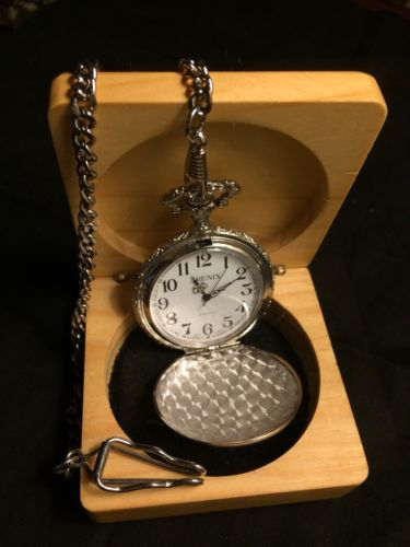 ARENIX SILVER POCKET WATCH GOLD TRACTOR TRAILER AND CHAIN AND NEW BATTERY