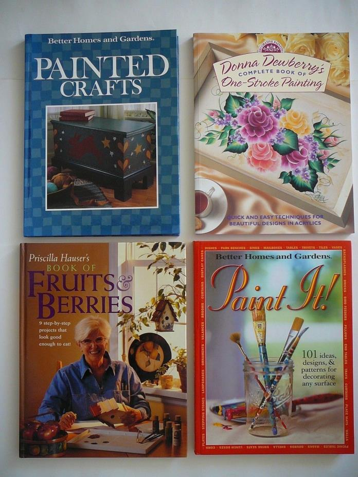 4 Painting Craft Books-Donna Dewberry's 1-Stroke Painting/Painted Crafts/Paint I