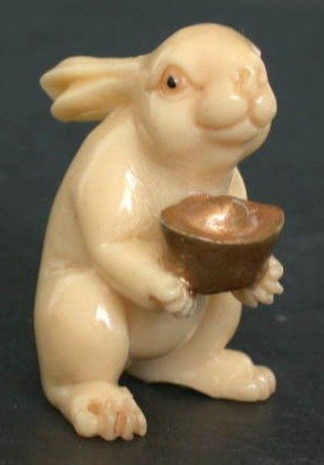 Vintage Japanese netsuke -Cute Rabbit offers U Gold Nugget,Take it !