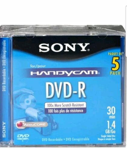 Sony 8cm DVD-R Recordable Camcorder Media, 1.4GB, Pack of 5 #5DMR30R1H Brand new
