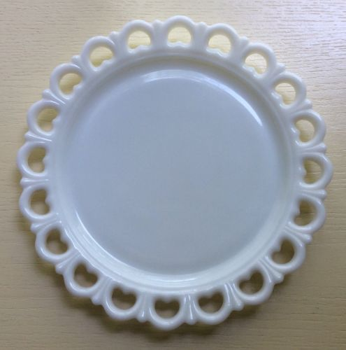 SWEET Vintage Milk Glass Cake Plate Platter with Open Heart Lace Edge 12""