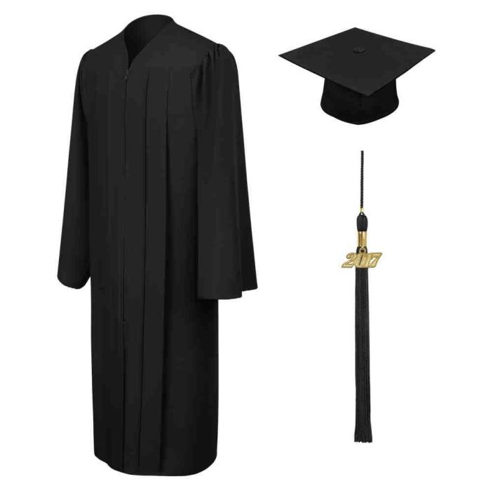 Graduation Gown Cap Tassel Set, Matte Black, 57 (Height 6'0