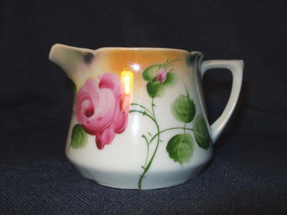 Antique Hand Painted Leuchtenberg Thuringia Floral Design Porcelain Creamer EUC